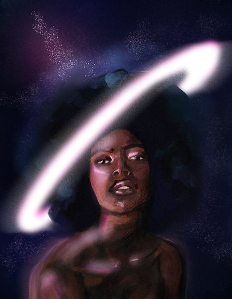 ethereal black woman in outer space, afro looks like saturn