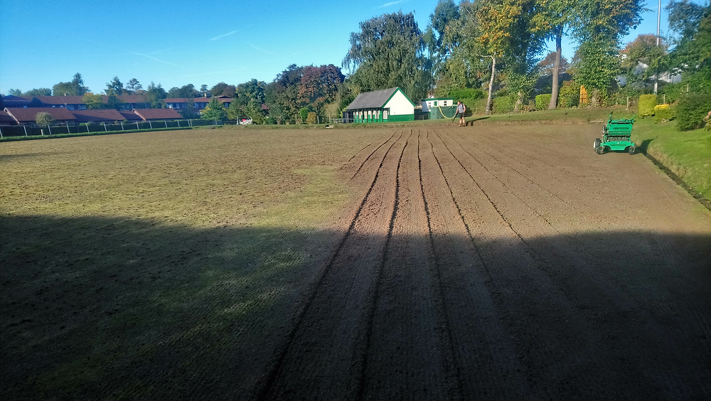 Aggressive scarification of a bowls green