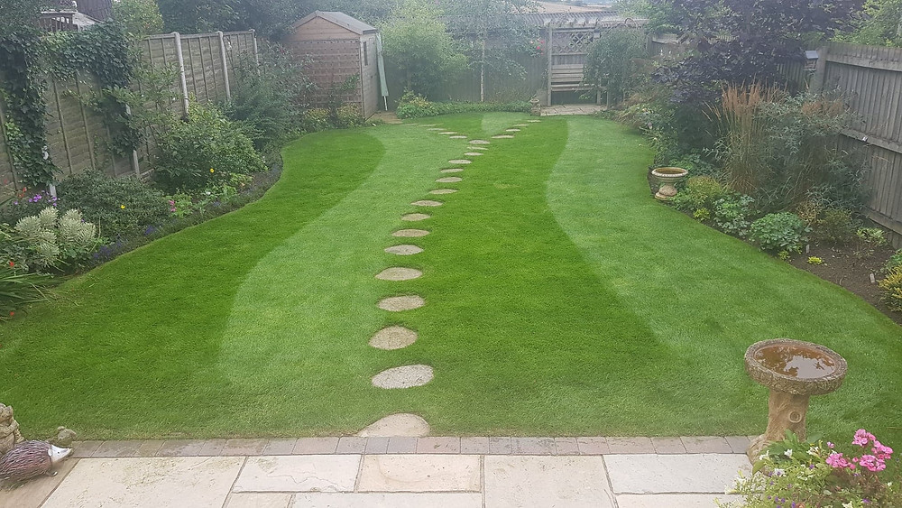 Kingsbury Lawn Care / lawn treatment service / this image is of a lovely back garden with a beautifully tended lawn centre