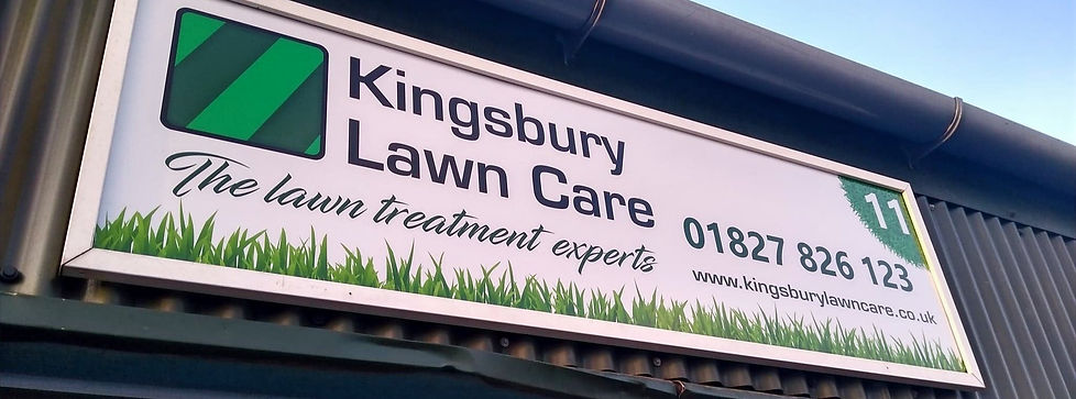 Kingsbury Lawn Care / lawn treatment service / this image is of Kingsbury Lawn Care signage at their yard near Atherstone