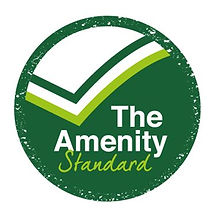 Kingsbury Lawn Care / lawn treatment service / this image is over The Amenity Standard logo, a professional standard acheived by Kingsbury Lawn Care