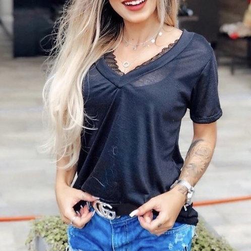 Blusa T-Shirt Podrinha Camiseta Básica Feminina Preta