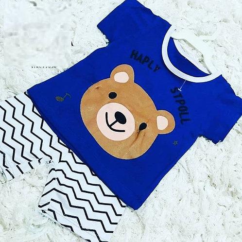Conjunto Conjuntinho Pijama Composto Camiseta + Bermuda Bebê Menino Ursinho