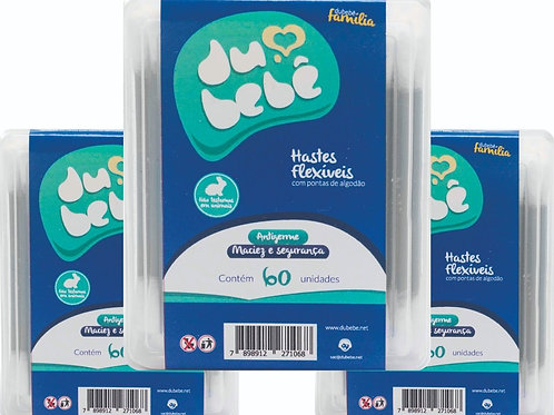KIT 3 caixas Cotonete / Haste Flexível DUBEBE BOX 60 Unidades