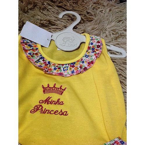 Conjunto Conjuntinho Composto Blusa + Bermuda Bebê Menina Amarela