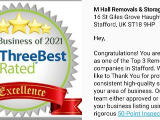 Rated as top 3 removals company in Stafford.