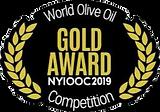 2019 New York Iternational Olive Oil Compertition Gold Medal