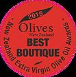 2015 Olives New Zealand Best in Boutique Medal