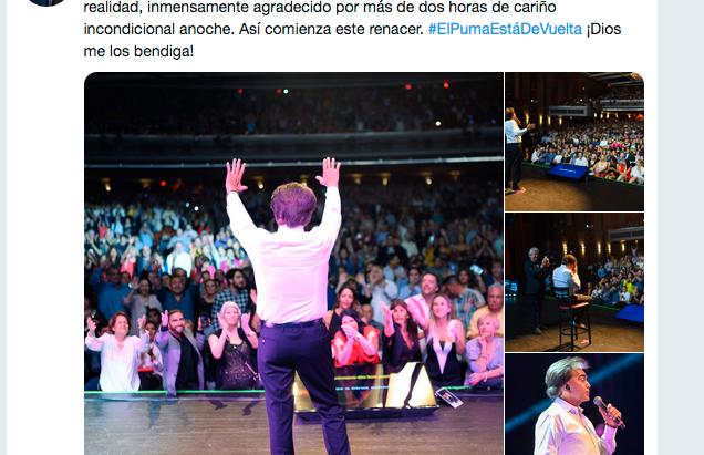 El Puma está de vuelta, sano, enérgico y planea terminar su #agradecidotour en Caracas.