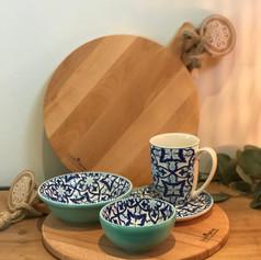purewood ronde serveerplank + 1 mok + 1 bordje + 1 bowl + 1 max bowl / Porto