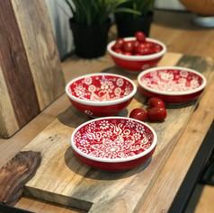 pure rosewood serveerplank met metalen handvat 59cm + 2 bowls + 2 platte schaaltjes Florient