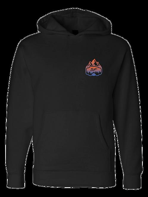 SledFreak Logo Hoodie Full Back Front Left Blue Orange Gradient