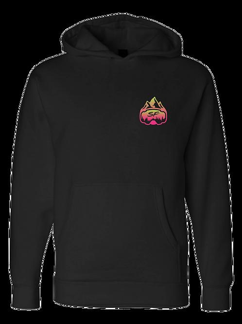 SledFreak Logo Hoodie Full Back Front Left Pink Green Gradient