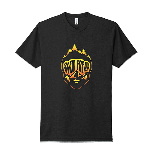 Sledhead Black T Shirt Orange Yellow Gradient