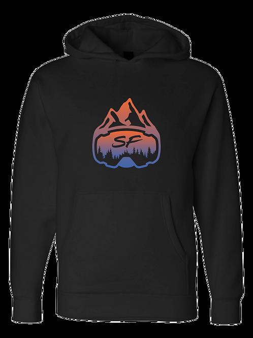 SledFreak Logo Hoodie Full Front Blue Orange Gradient