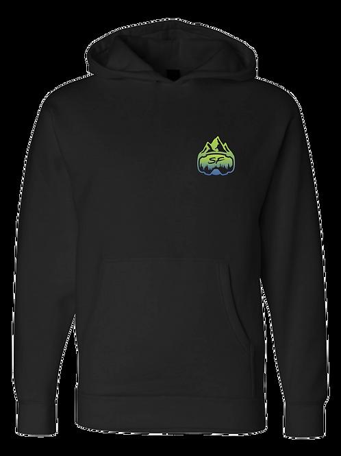 SledFreak Logo Hoodie Full Back Front Left Blue Green Gradient