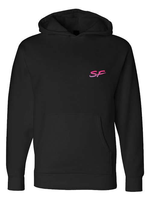 Sledhead Logo Hoodie Full Back Front Left Pink Purple Gradient