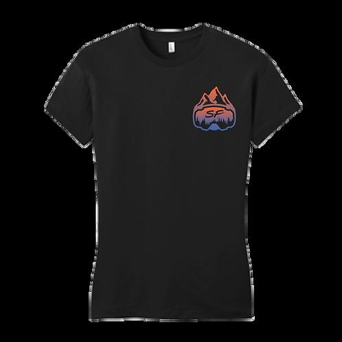 Women's Sledfreak Logo Black T Shirt Blue Orange Gradient