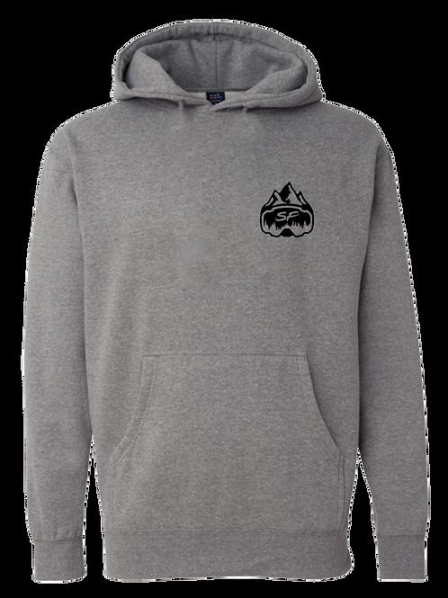 Grey Sledfreak Logo Hoodie Full Back Front Left Black