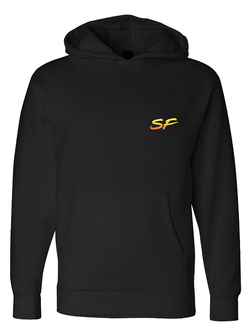 Sledhead Logo Hoodie Full Back Front Left Orange Yellow Gradient