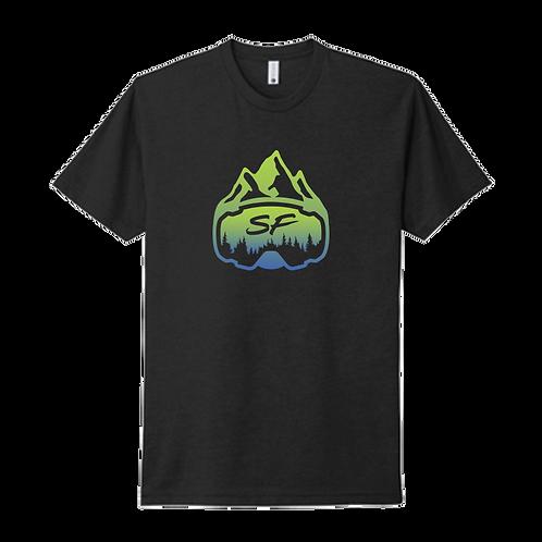 SledFreak Logo Black T Shirt Blue Green Gradient