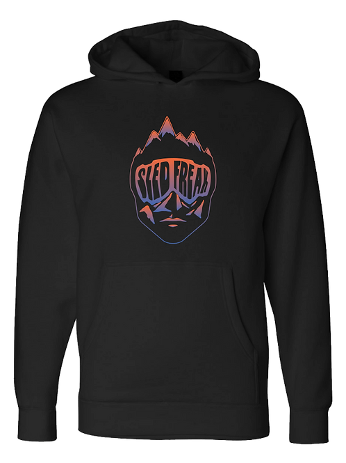 Sledhead Logo Hoodie Full Front Blue Orange Gradient