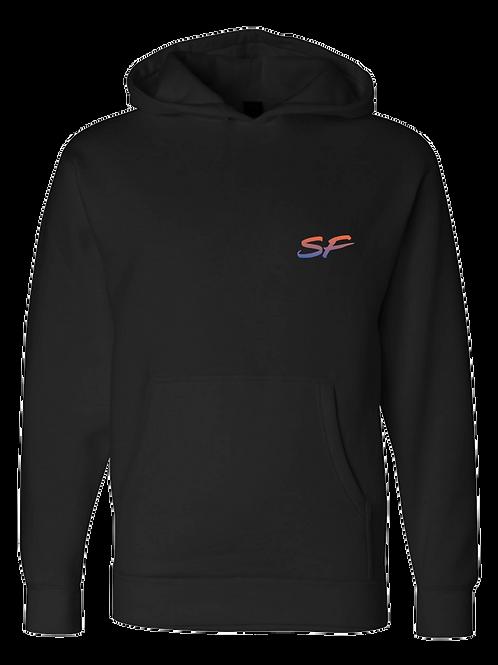 Sledhead Logo Hoodie Full Back Front Left Blue Orange Gradient