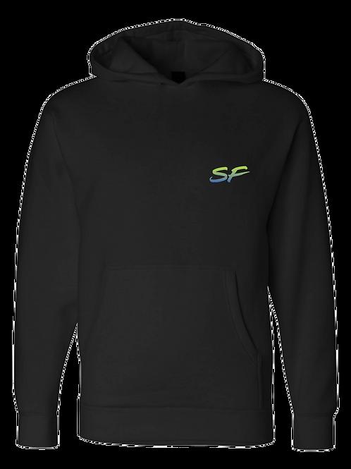 Sledhead Logo Hoodie Full Back Front Left Blue Green Gradient
