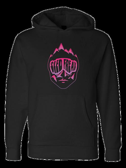 Sledhead Logo Hoodie Full Front Pink Purple Gradient