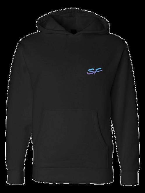 Sledhead Logo Hoodie Full Back Front Left Blue Purple Gradient