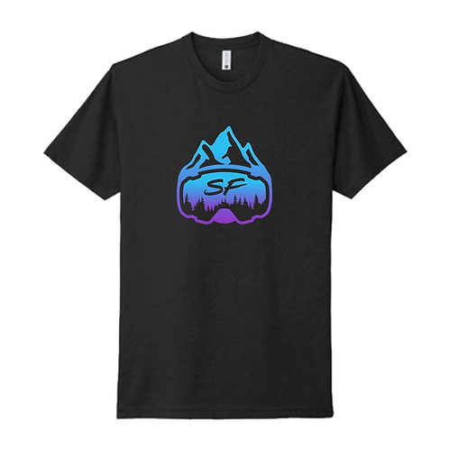 Sledfreak Logo Black T Shirt Blue Purple Gradient