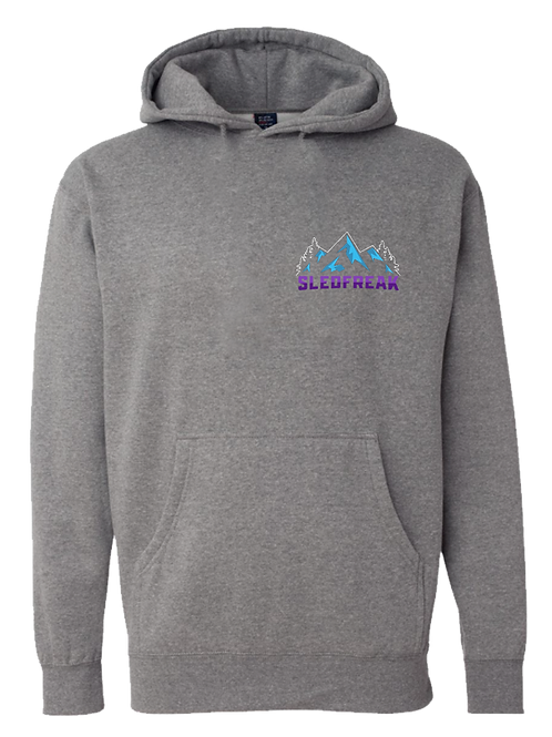 Grey Mountains Logo Hoodie Full Back Front Left