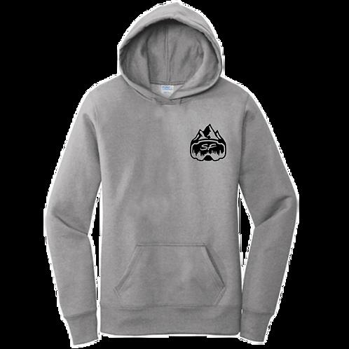 Women's Grey Sledfreak Logo Hoodie Full Back Front Left