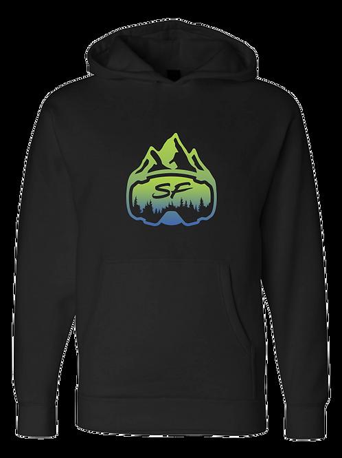 SledFreak Logo Hoodie Full Front Blue Green Gradient