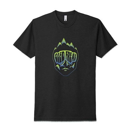 Sledhead Black T Shirt Blue Green Gradient