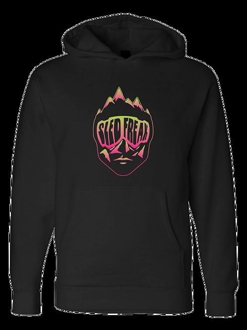 Sledhead Logo Hoodie Full Front Pink Green Gradient