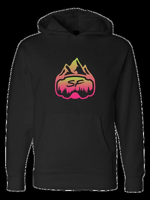 SledFreak Logo Hoodie Full Front Pink Green Gradient
