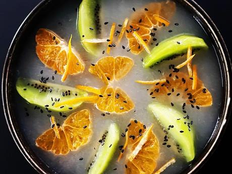 Gelée de poire au gingembre et fruits de saison