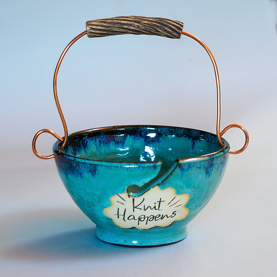 Knit Happens - Knitting Bowl with Handle