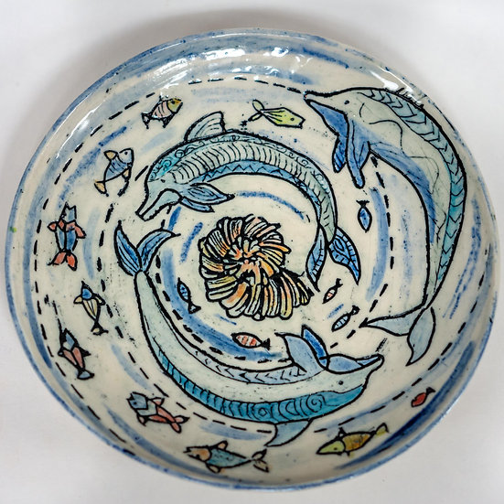 Swirl of Dolphins Plate