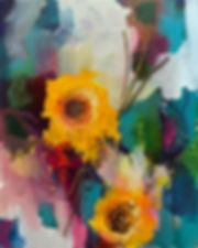yellow flowers mixed media original art