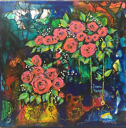 roses abstract floral art painting