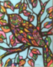 art heatherneimanart bird folk pop stained glass