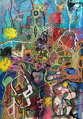 art on paper, abstract, original art, blue, mixed media,