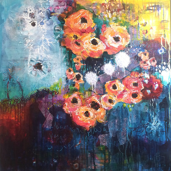 acrylic painting mixed media florals flowers orange abstract