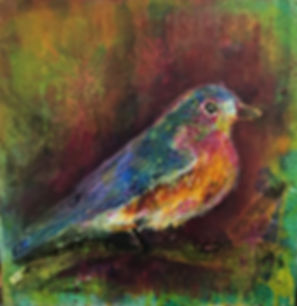 art heatherneimanart bird bluebird collage canvas