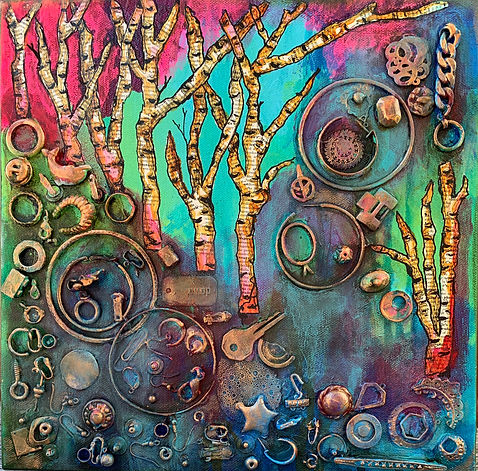"12""x12""x1.5"" mixed media found objects pink green blue original art"