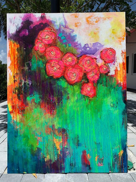 floral, pink, purple, green, large art, abstract florals, abstract art, art, original art