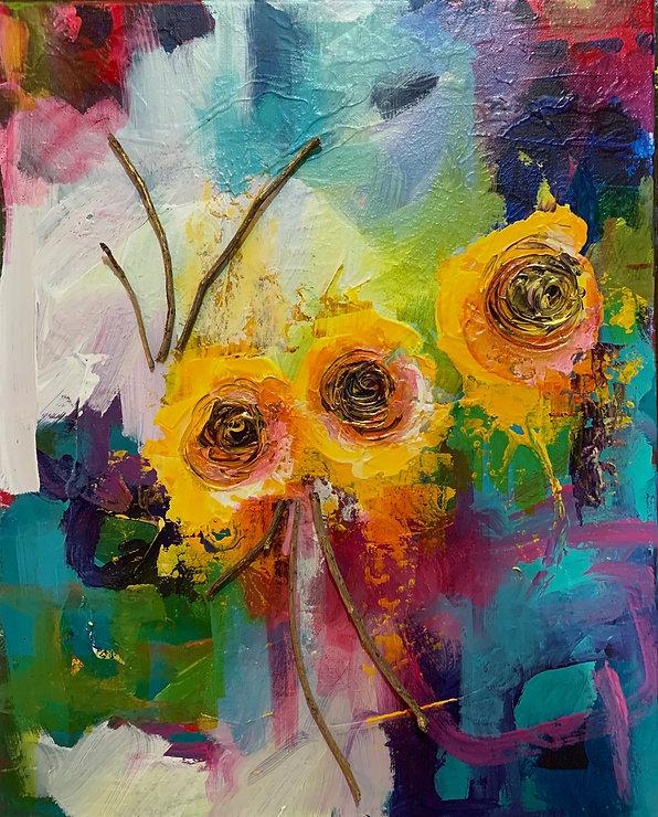 yellow flowers mixed media original art
