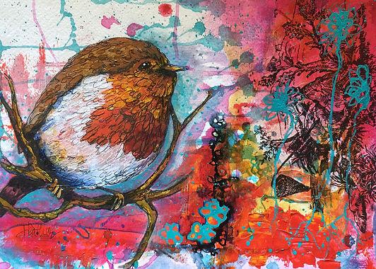 bird robin collage art heatheneimanart